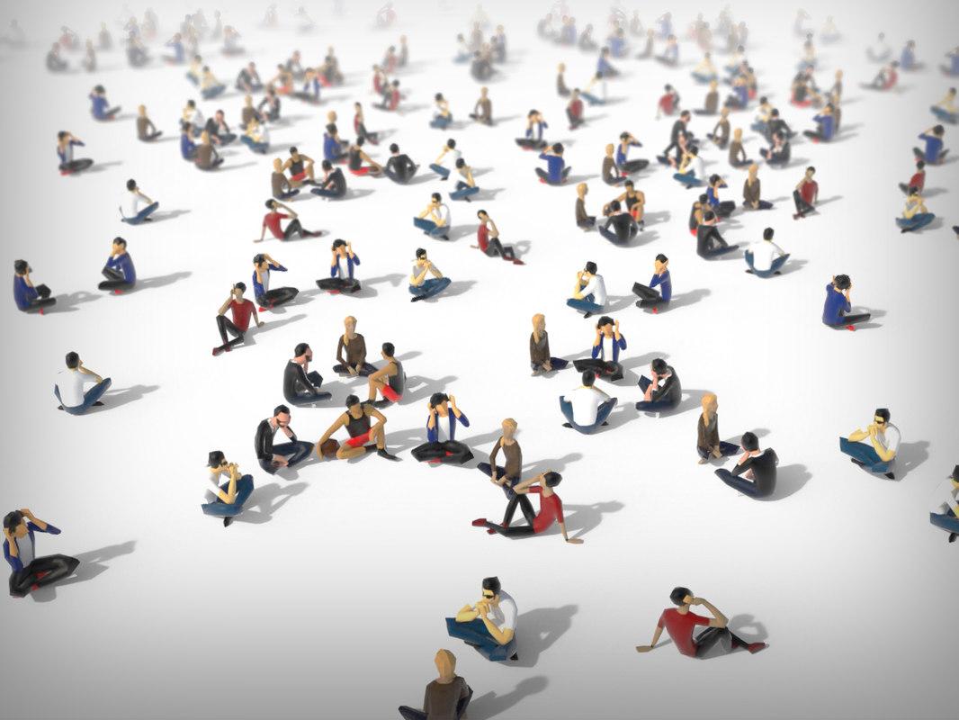 3d model of people crowd