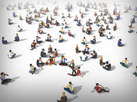 3d model of people crowd