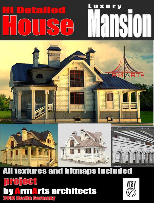 3d max 3 storey mansion