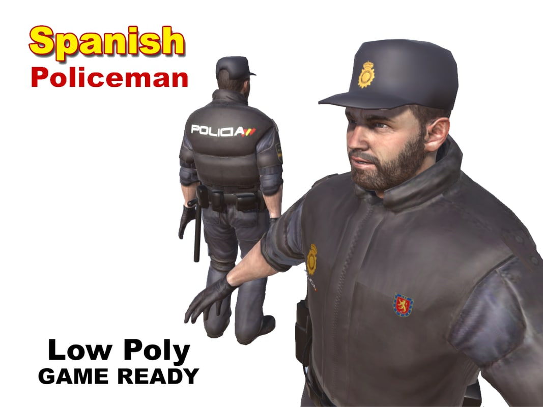 spanish policeman character man 3d model