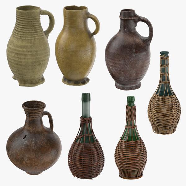 3d model medieval ceramic wine jug