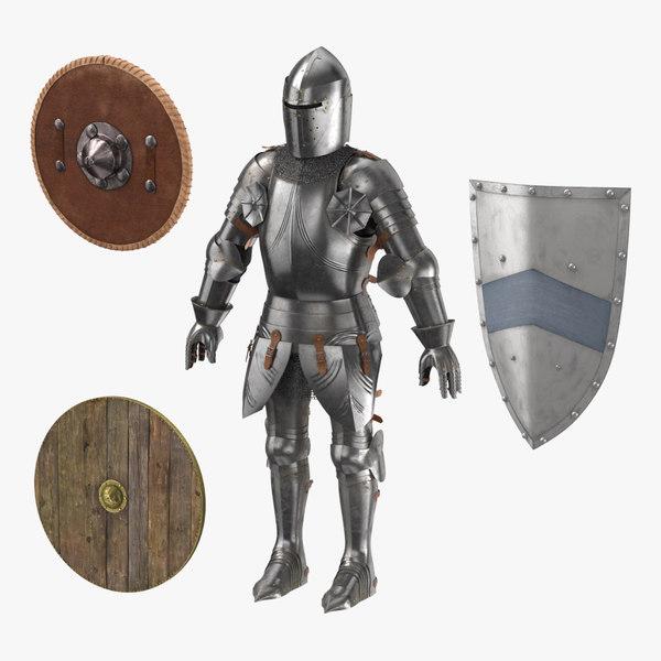 3d medieval armor 3 shields