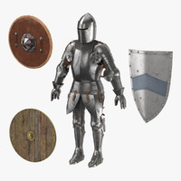 Medieval Armor and 3 Shields - Leather Wood and Metal