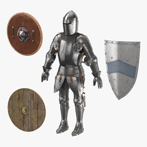 3d medieval armor 3 shields