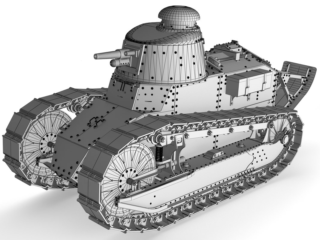 3d model of tank renault ft-17