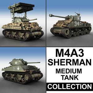 m4a3 sherman - tank 3d c4d