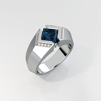 men ring square gemstone 3d 3ds