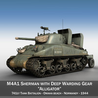 3d model m4a1 sherman alligator tank
