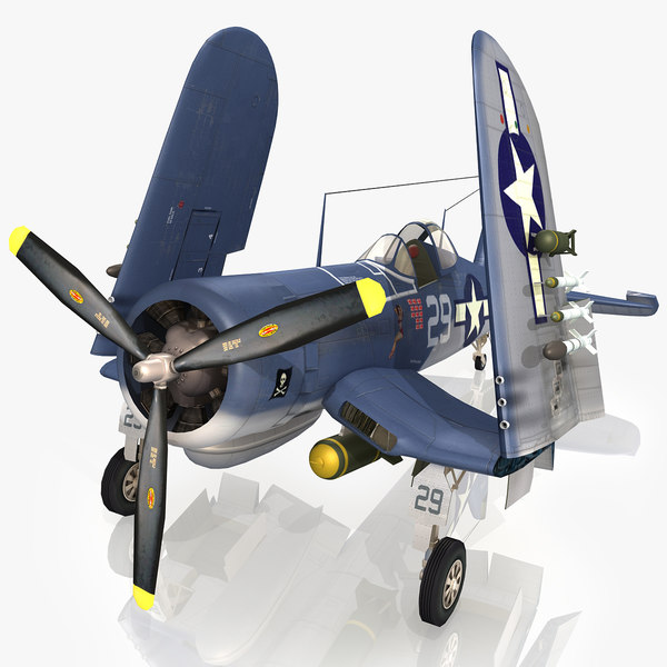 vought f4u corsair parking 3d model