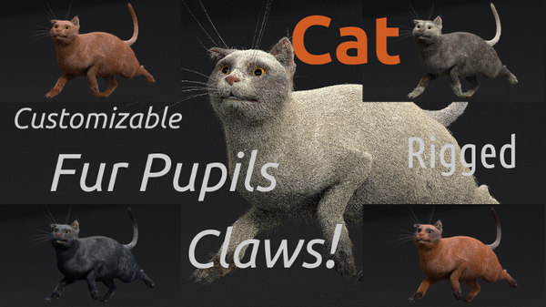 customizable rigged cat 3d blend