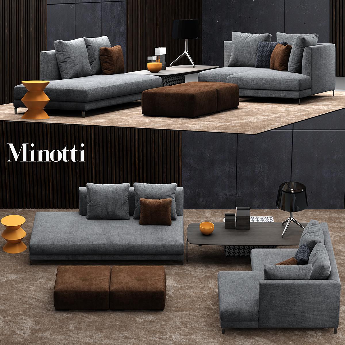 minotti allen sofa 3d model. Black Bedroom Furniture Sets. Home Design Ideas