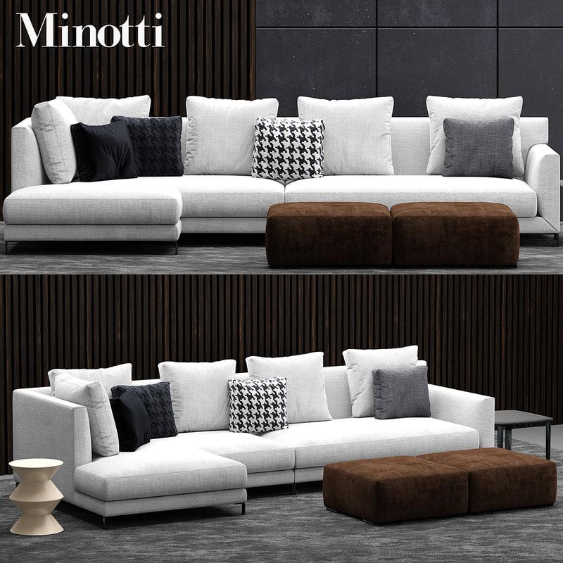 3d model minotti allen sofa