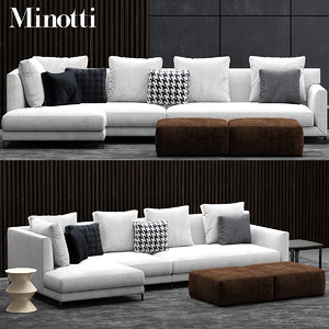 3d model minotti allen sofa