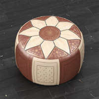 3d model moroccan leather pouf
