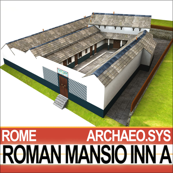 3d ancient roman mansio inn model