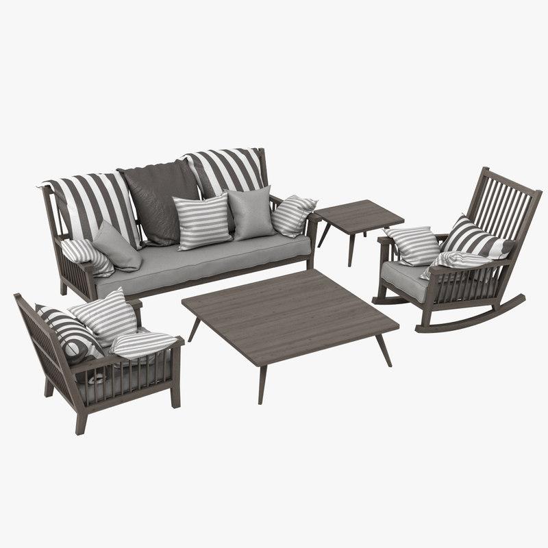 gervasoni gray set chair 3d obj