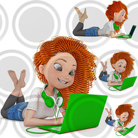 Girl lying on floor with green laptop Collection