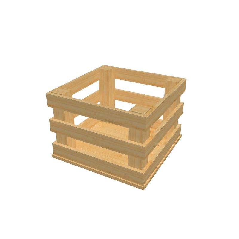 3d model of homemade wooden box