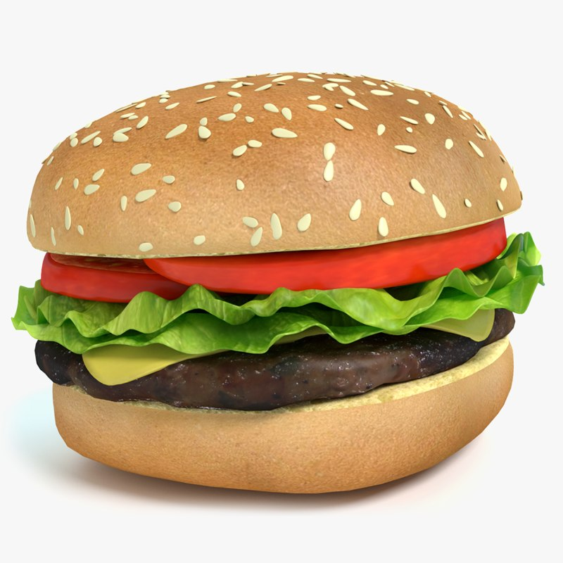 3d model cheeseburger burger cheese