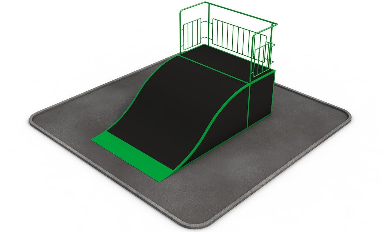 3d model quarter pipe roughness skate park