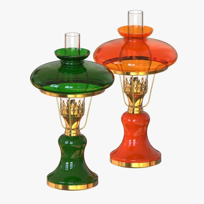 antique oil lamp 3d max