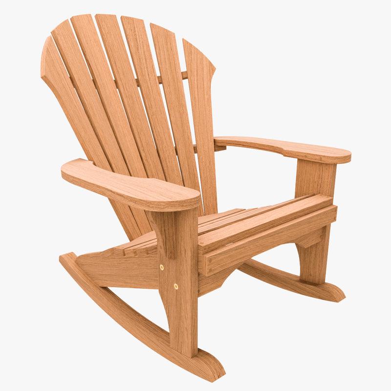 3d model of chair rocker atlantic