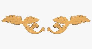 3d vermont acorn motif carving model