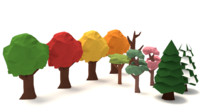Low-poly tree pack, extra variations