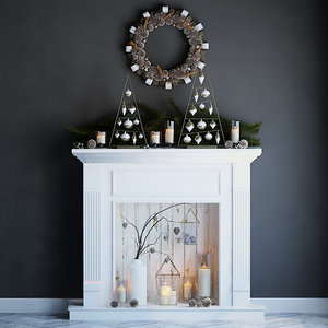 3d fireplace fir christmas model