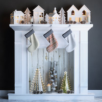 3d fireplace christmas fir