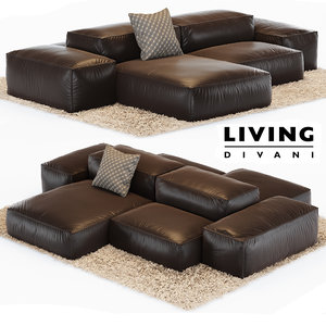 sofa extrasoft living divani 3ds
