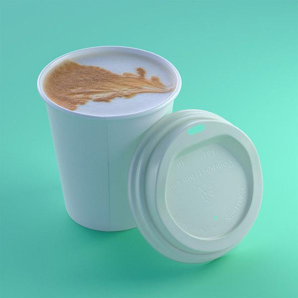closeup coffee cup lid 3d c4d