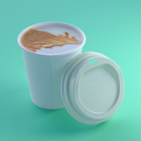 closeup coffee cup lid 3d c4d