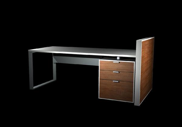 modern desk 3d fbx