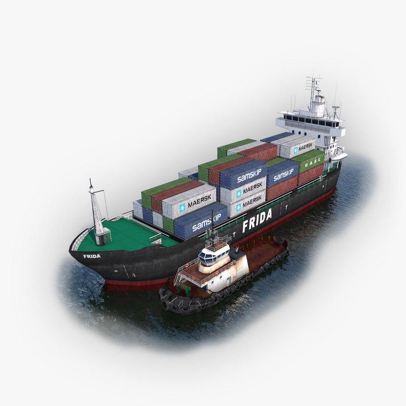 3d cargo ship tugboat model