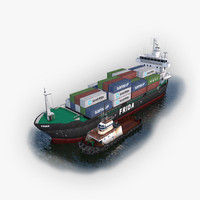 3d cargo ship tugboat model