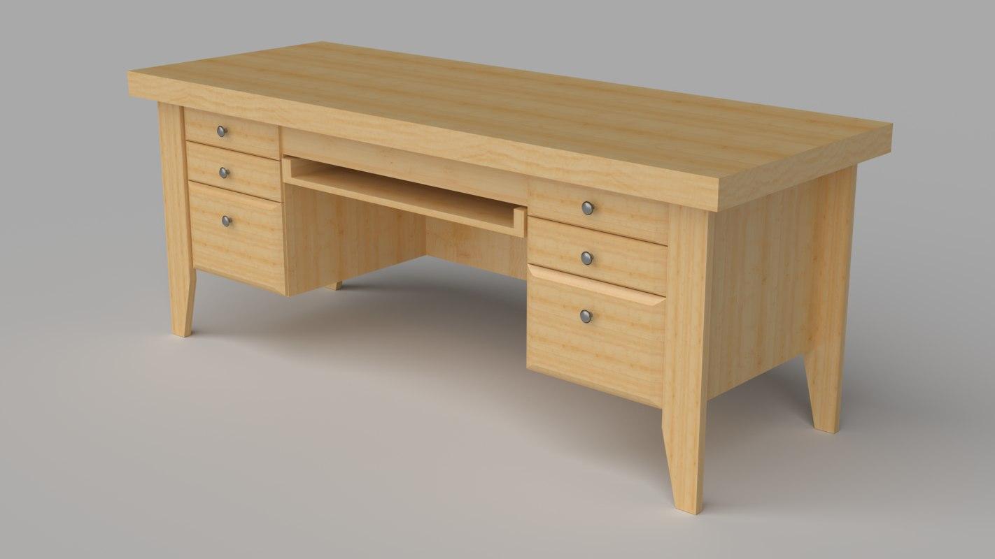 simple desk 3d 3ds