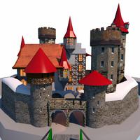 mediaeval medieval castle obj free