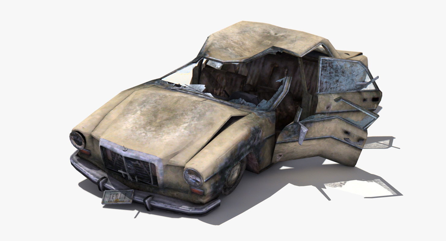 3d destroyed car games model