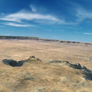 3d model desert mountain range landscape