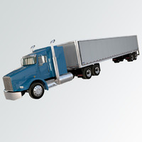 3d model of american truck trailer