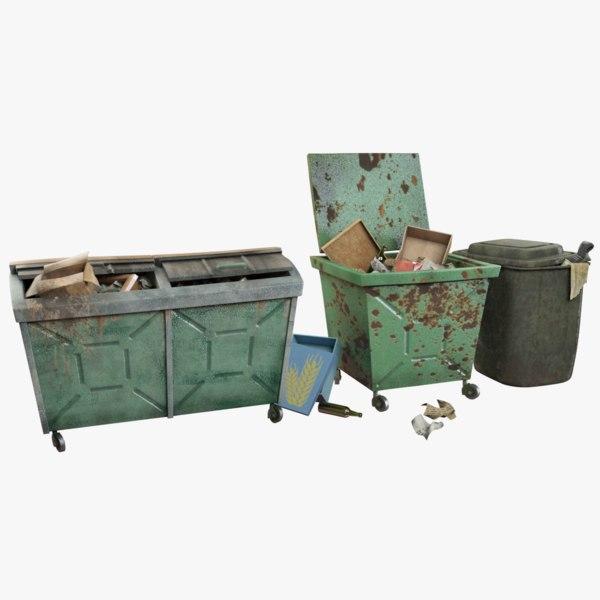 trash boxes 3d model
