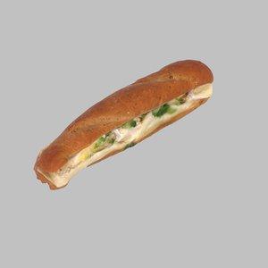 cheese baguette obj