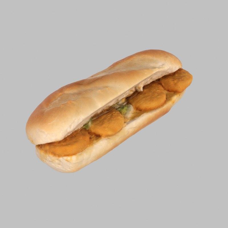 3d nugget baguette model