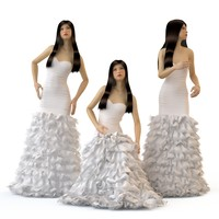 3d v-ray wedding evening dress model