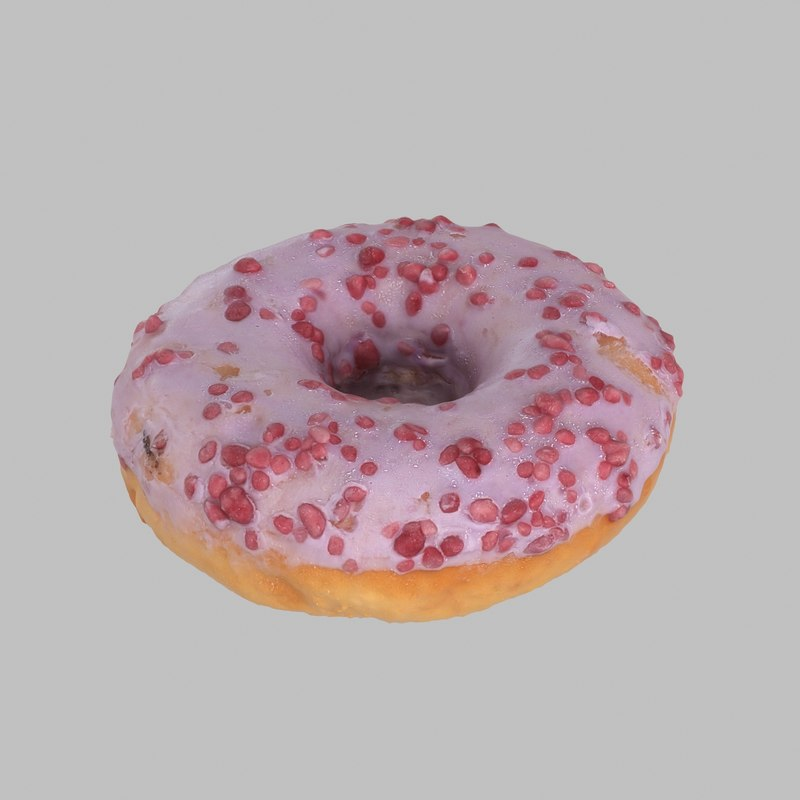 3d model donut blueberry