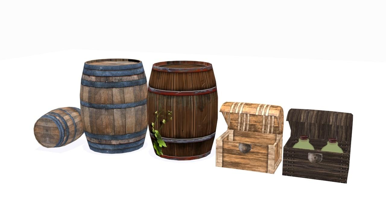 3d wooden barrel chest