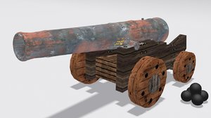 ship cannon pirate 3d max