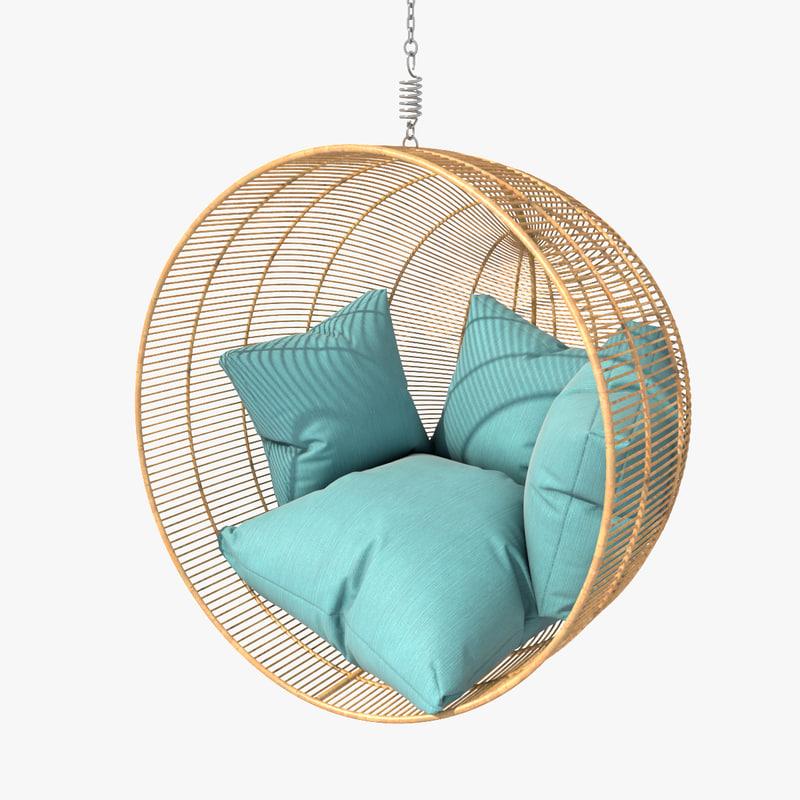 Rattan Bamboo Hanging Bowl Chair