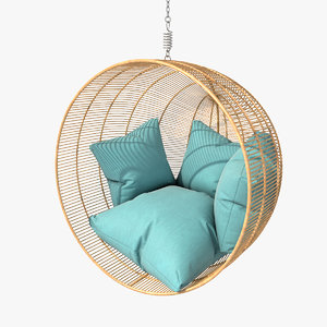 rattan bamboo hanging bowl 3d model